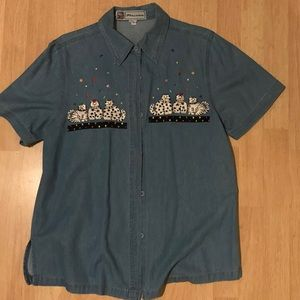 VINTAGE EMBROIDERED CAT PRINT DENIM SHIRT MEDIUM